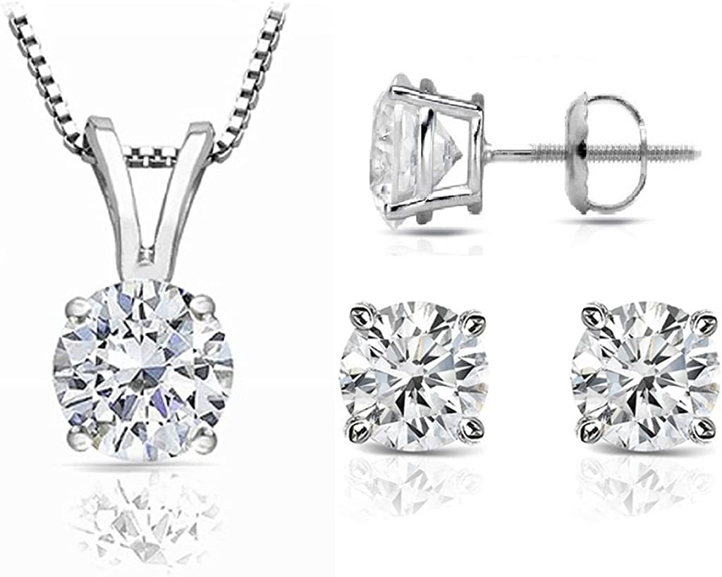 PARIKHS Princess Cut Diamond Set Prime Quality-Screw Back in White /& Yellow Gold