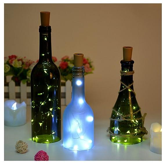 luces de Navidad Mangueras de Tiras LED suave tapa de la botella Lámparas decoradas con batería --blanco,3 piezas: Amazon.es: Iluminación