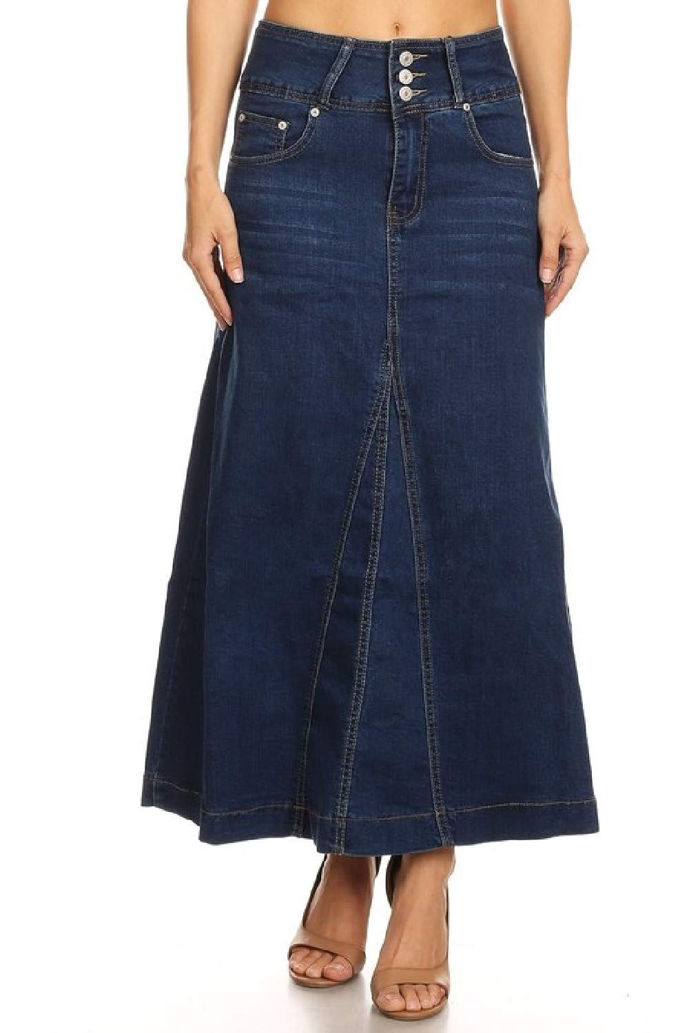 Women's Plus Size High Rise A-Line Long Jeans Maxi Flared Denim Skirt in Blue Size 1XL by Fashion2Love