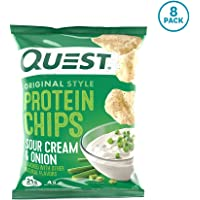 Quest Nutrition Sour Cream & Onion Protein Chips, Low Carb, Gluten Free, Soy Free, Potato Free, Baked, 8 Count