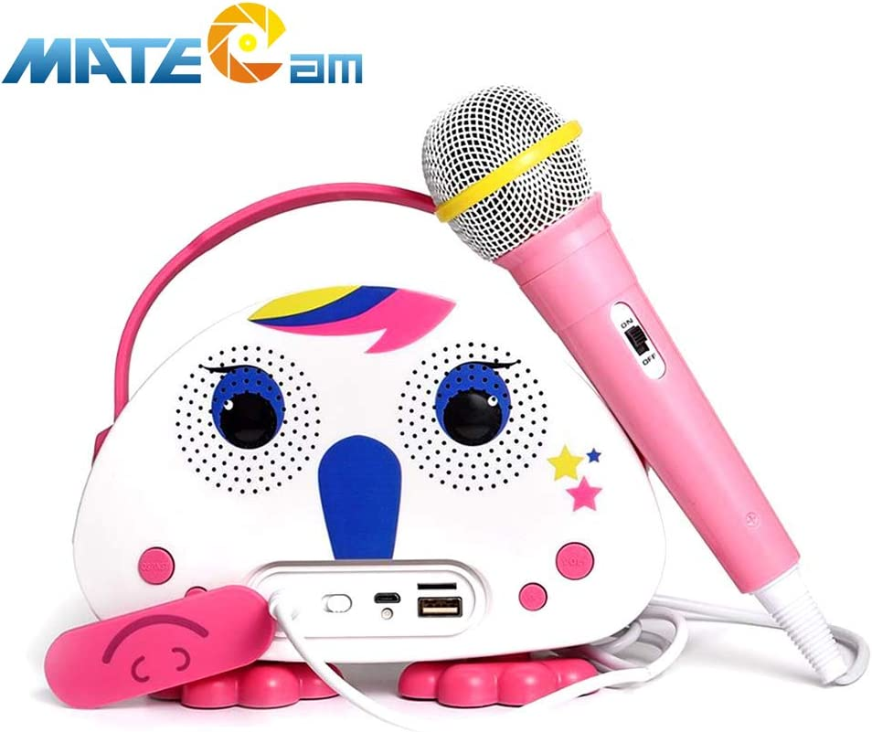 Kids Karaoke Machine with Microphone, Children's Bluetooth Karaoke Wireless Speaker Beach Wireless Cartoon Speaker for Indoor Outdoor Travel Activities Party Best Christmas Birthday Gift for Children