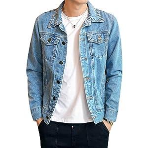 [CEEN] メンズ デニムジャケット スリム ジージャン カジュアル おしゃれ 秋服 長袖 (ライトブルー2, M(日本のSサイズ相当))