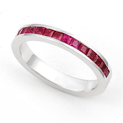 platinum channel set ruby wedding band ring 4 - Ruby Wedding Ring Sets