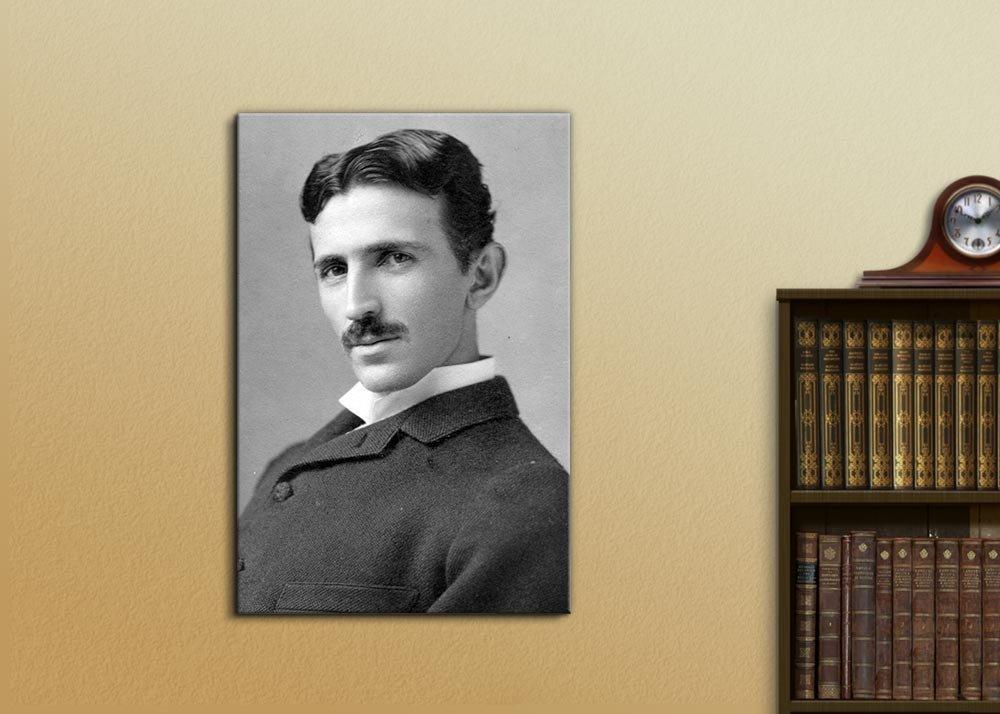 "Portrait of Nikola Tesla Ready to Hang 12/""x18/"" Giclee Print Canvas Wall Art"