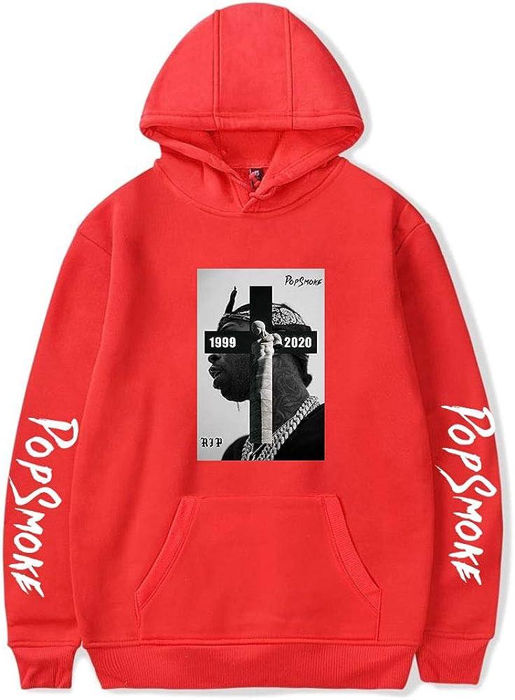 WAWNI R.I.P Pop Smoke Hoodie Sweatshirts for Fans Men and Women Black Hip Hop Outwear Size XXS-4XL Red4,S