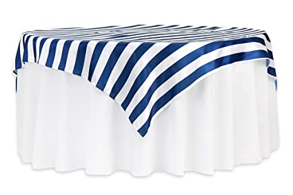 Stripe 72u0026quot;x72u0026quot; Square Satin Table Overlay   Navy Blue ...