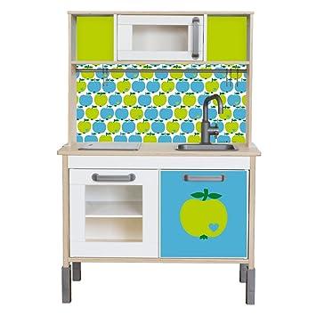 ByGraziela APFEL Klebefolie Passend Für Deine IKEA Kinderküche DUKTIG (Farbe  Blau/Grün)