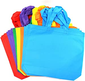 M-Aimee 24 Pieces 15 by 12.5 Inches Non-Woven Bags Rainbow Colors Party Bags Treat Bag Goodie Bottom Non Woven Bag with Handles for Party Favor,6 Colors