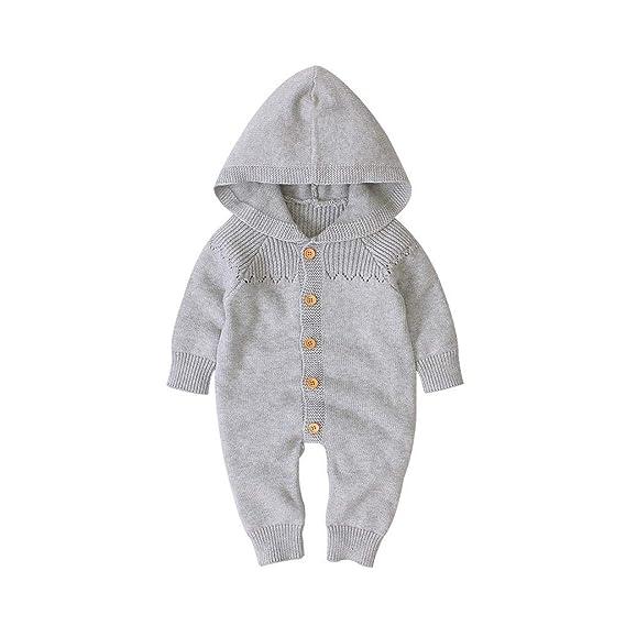 New Winter Newborn Infant Baby Girls Boys Warm Coat Knit Outwear Hooded Jumpsuit