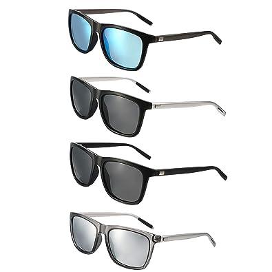 b8c1a77fe75000 Aroncent 4PCS Polarisierte Sonnenbrille Sportbrille Fahrradbrille UV400  Schutz für Herren Damen Metallrahmen Ultraleicht Blau