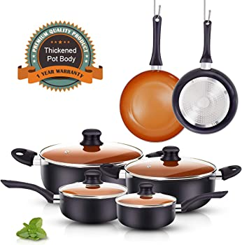 FRUITEAM 10pcs Ceramic Cookware Set
