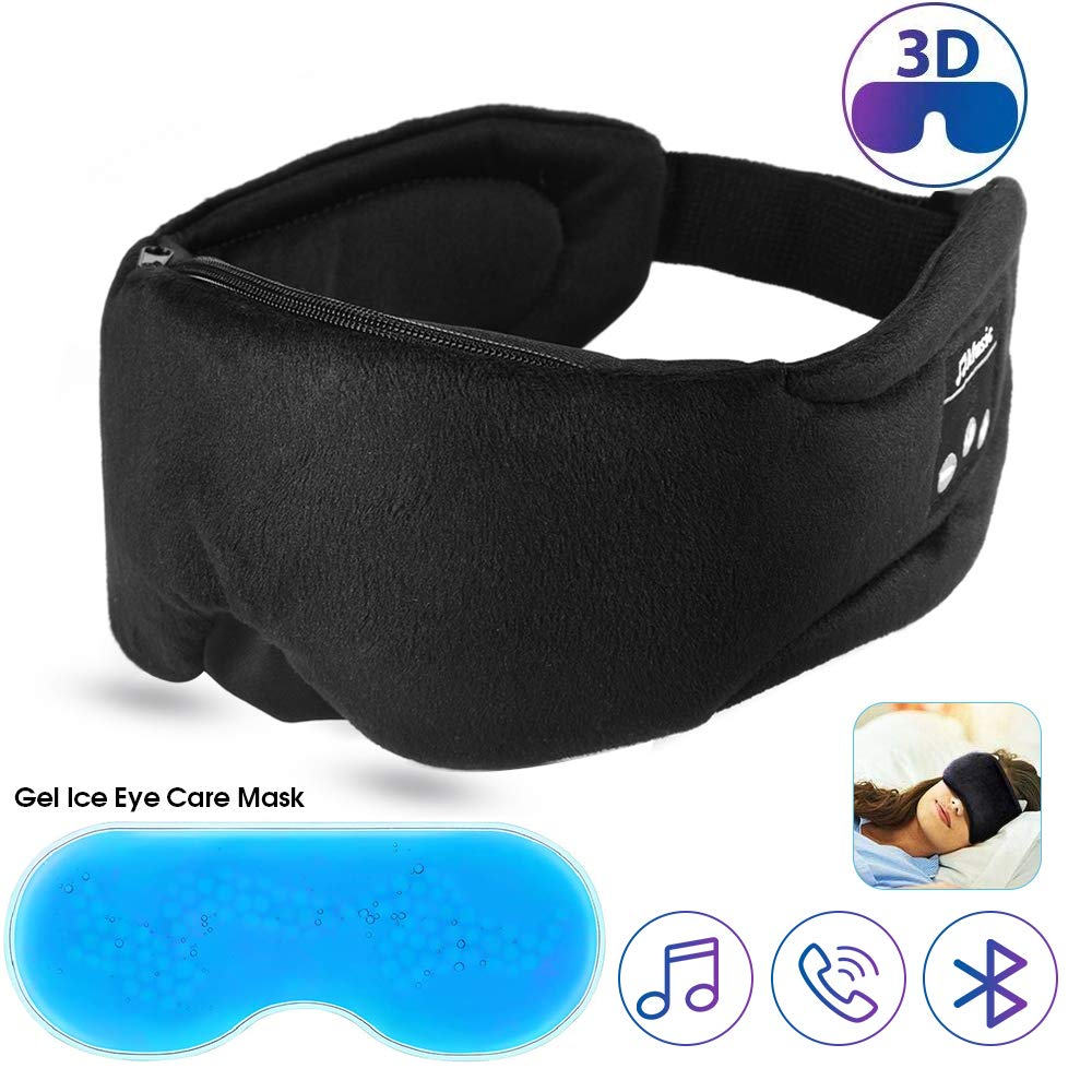 Bluetooth Headphones Sleep Eye Mask,with Gel Eye Mask Cold Pads Sleep Eye Mask,Bluetooth Wireless Earphone Sleeping 3D Eye Mask Ultra-Thin Speakers & Mic, Hands-Free Calling, Travel