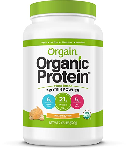 Orgain Organic Plant Based Protein Powder, Peanut Butter - Vegan, Low Net Carbs, Non Dairy, Gluten Free, Lactose Free, No Sugar Added, Soy Free, Kosher, Non-GMO, 2.03 Pound