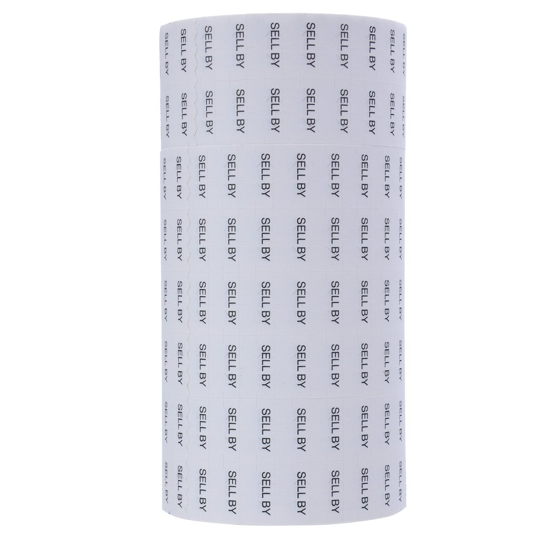 Black Print on White ''SELL BY'' Pricing Labels to fit Monarch 1131 Pricers. 8 Rolls with 1 Free Ink Roller.