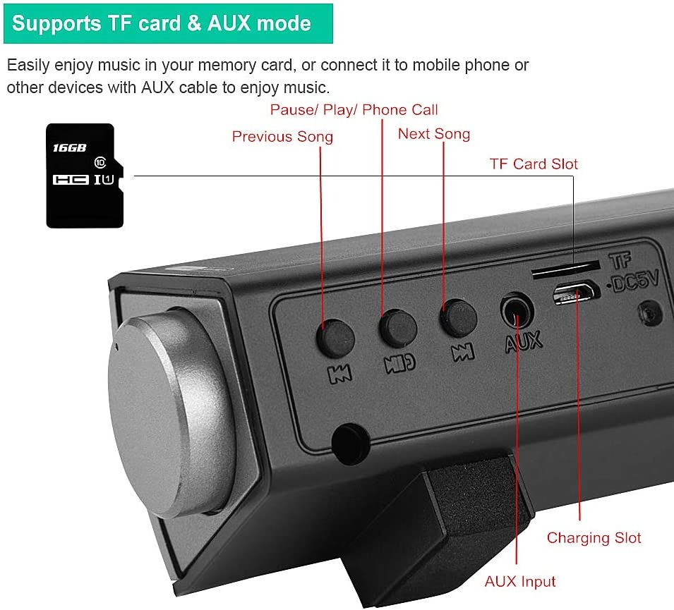 Portable 15.7in Wireless Subwoofer Fishlor Bluetooth Sound Bar 4.2Bluetooth Home Theater 360/°Stereo Speaker 2x5W Compact Sound Bar TF Card//AUX Audio Player for TV//PC//Phones with Remote Control