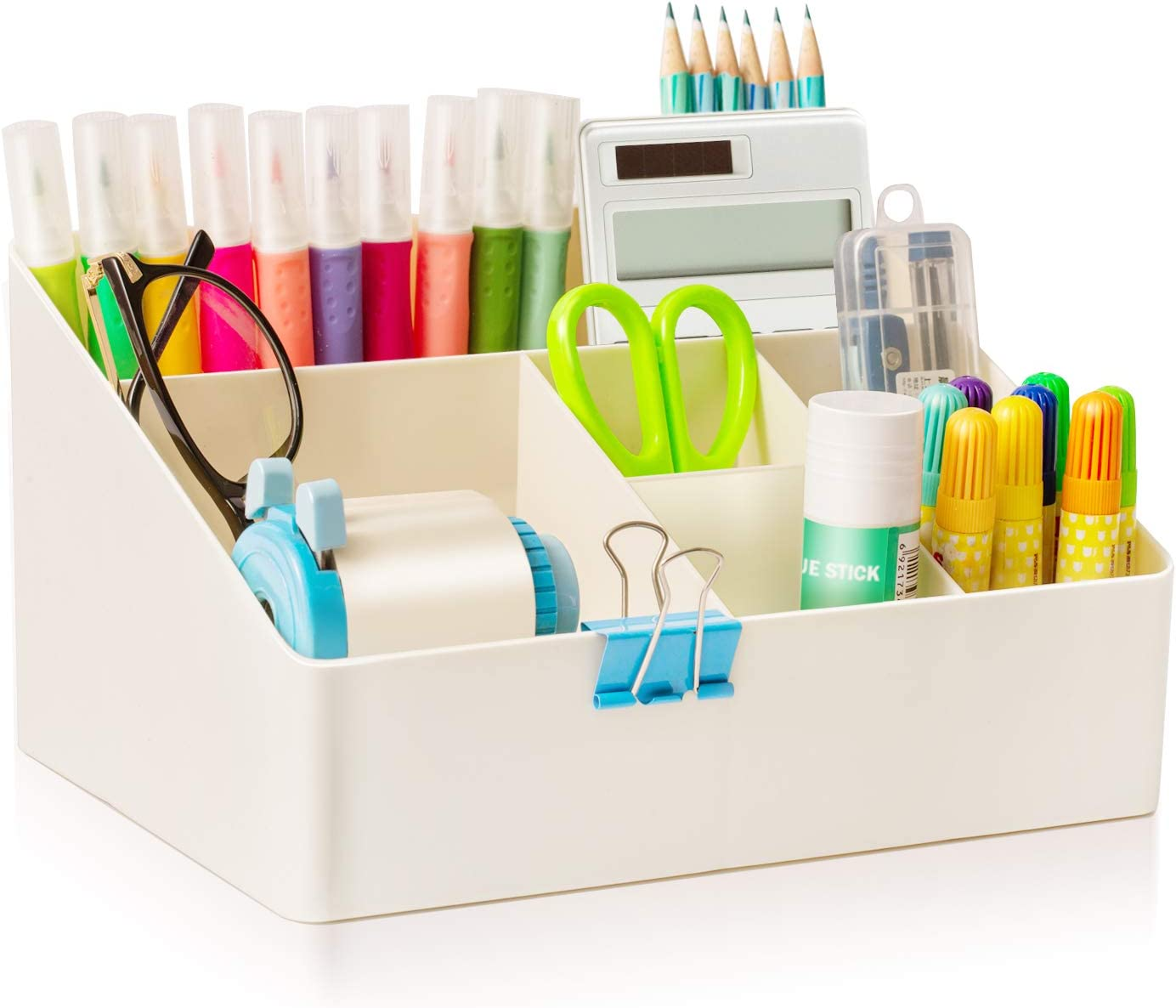 JUPAI Desktop Organizer Box, Organizer Bin for Cosmetic, Storage box for Office Supplies, Remote Control Holder, Lattice,White