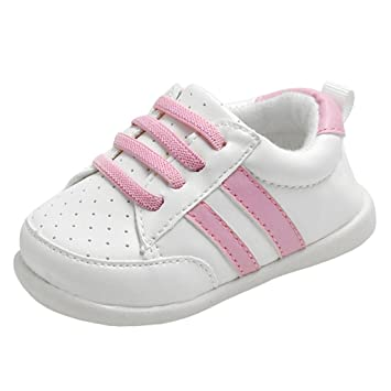 Amazon.com  Annnowl Baby Girls Shoes Rubber Sole Boys Sneakers (Pink ... 7b47fceb2df4