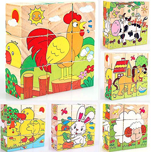 Wooden Cube Puzzle Blocks - M MOOHAM 3D Wooden Cube Block Jigsaw Puzzles Early Educational Toys for Kids, Farm Animals (9 Pieces)