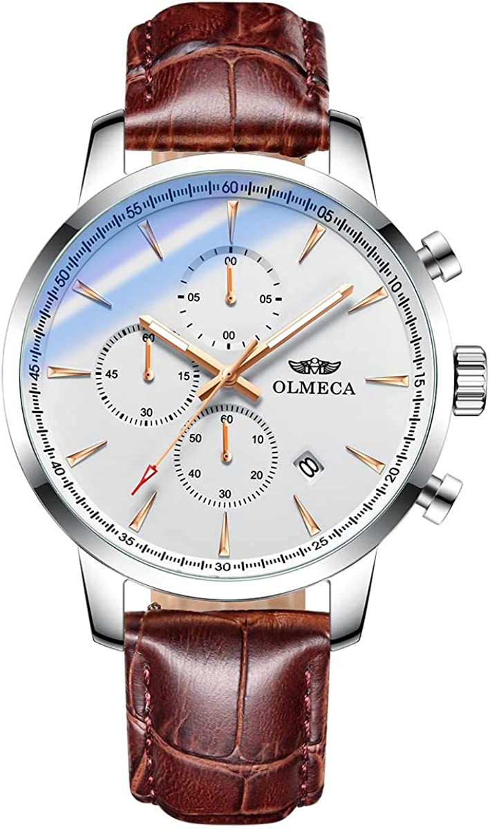 OLMECA Men s Sports Luxury Casual Wrist Watch Chronograph Waterproof Date Stainless Steel Sapphire Lens Case with Health Germanium Stone 3006 D Silver White