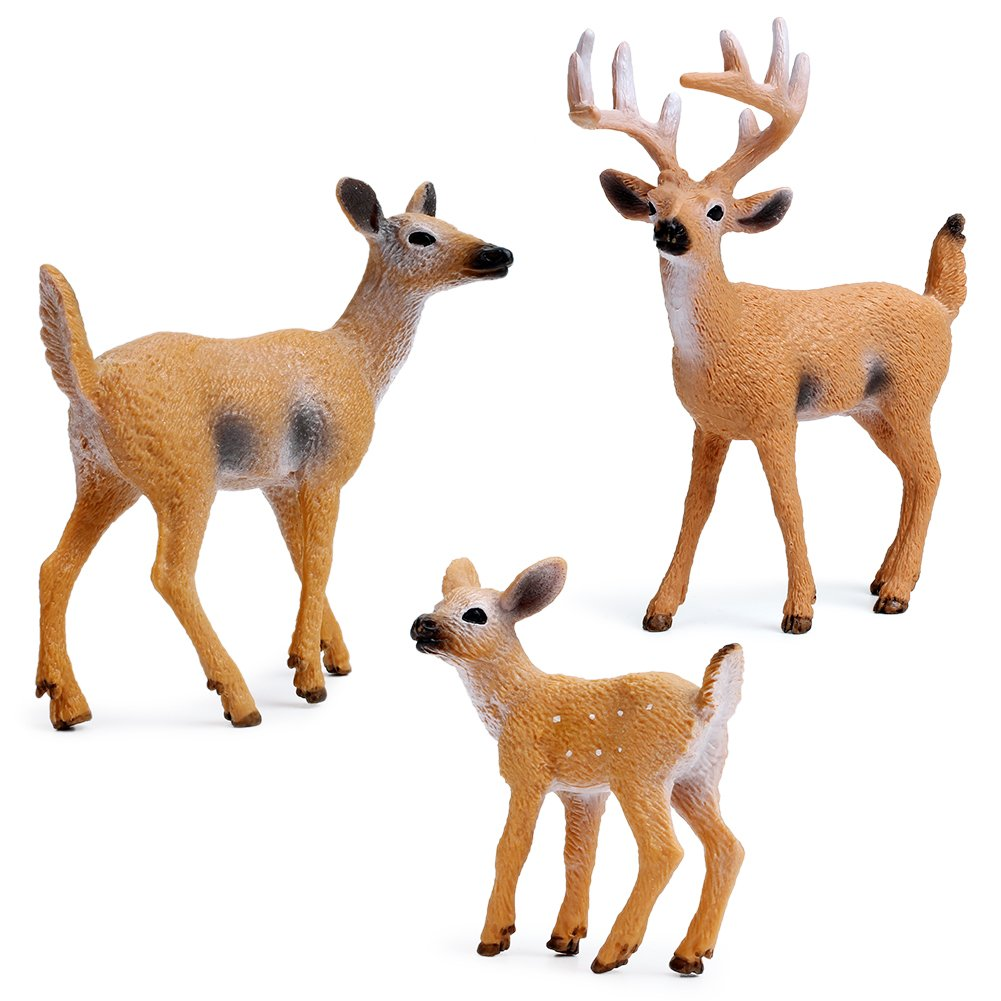 Miniature Deer Family Toy Figurines with Forest Animal Babies Set, Includes a Buck, Doe, Fawn, Rabbit, Squirrel and Fox by Uandme (Image #7)