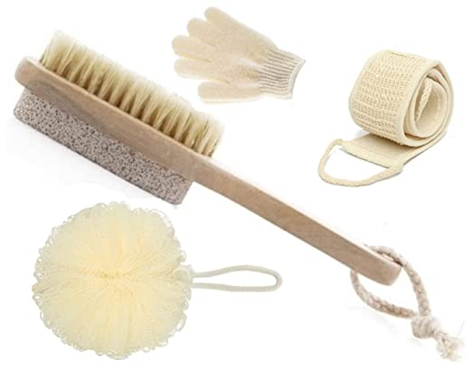 Olivia & Aiden Bath Brush Set â?? Includes Short Handle Bath Brush and Pumice Stone, Loofah Back Scrubber, Exfoliating Bath Gloves and Bath Pouf | The Ultimate Home Spa Gift Set