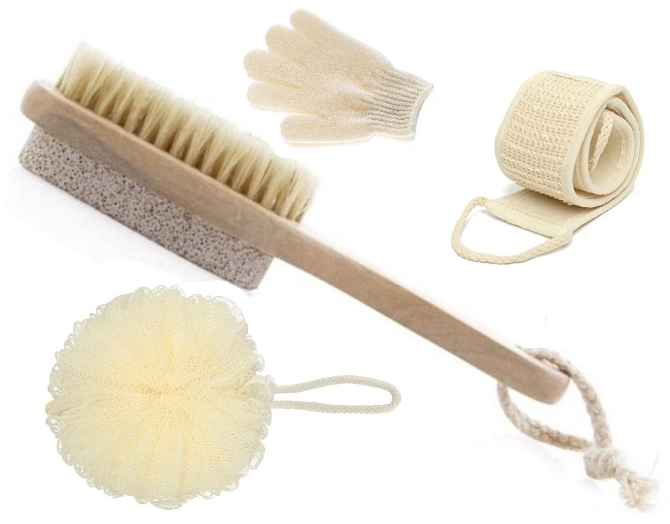 OLIVIA & AIDEN Bath Brush Set - Includes Short Handled Bath Brush and Pumice Stone, Loofah Back Scrubber, Exfoliating Bath Gloves and Bath Pouf - The Ultimate Home Spa Set
