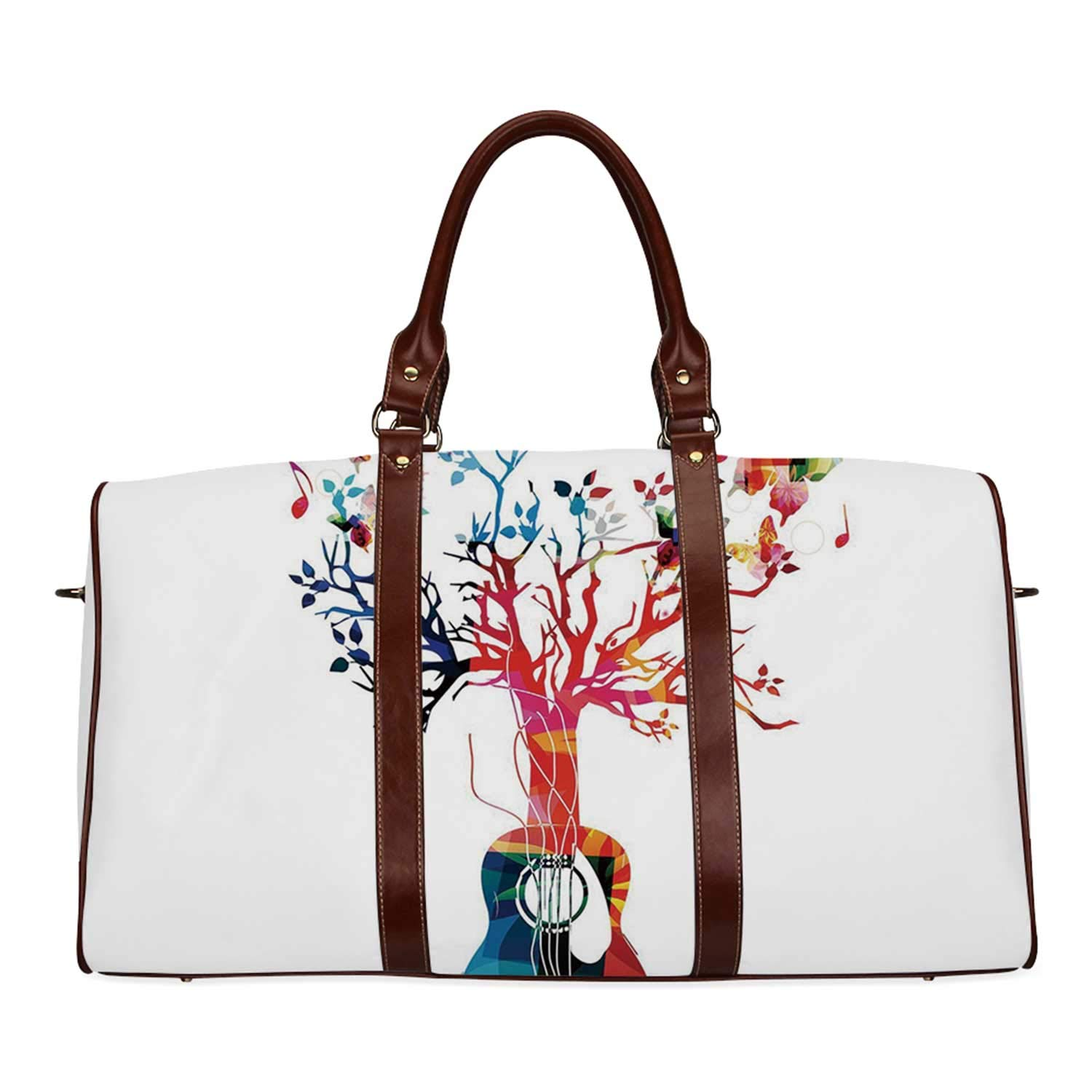 Guitar Economic Travel Bag,Colorful Musical Composition with Guitar Tree and Butterflies Artistic Inspiration for Weekend,20.8''L x 12''W x 9.8''H by YOLIYANA