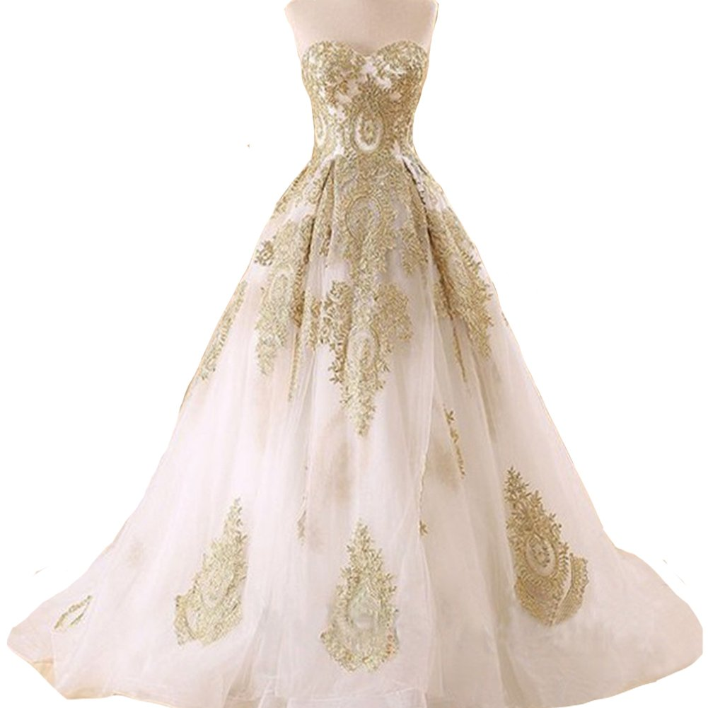 Kivary Gold Lace Ball Gown Long Corset Sweetheart Tulle Prom Wedding Evening Dresses White US16