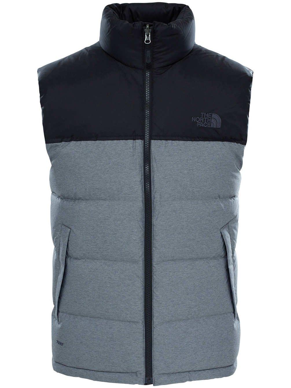 The North Face Nuptse Vest Mens (XX-Large, TNF Medium Grey Heather/TNF Black)