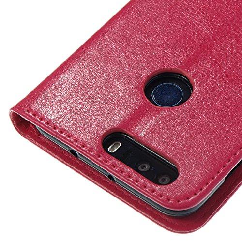 Para Huawei Honor 8 funda, (negro) Narcisos caja del teléfono de la PU patrón en relieve ,Función de Soporte Billetera con Tapa para Tarjetas correa de mano soporte para teléfono Rose Red