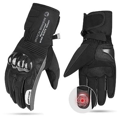 Motorcycle Winter Gloves Men Gauntlet TouchScreenGloves Windproof Water Resistant Carbon Fiber Men Women Warm (Black, M): Automotive