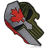 "[1 Count] Custom, Cool & Awesome {3.5"" X 2.1"" Inches} Rectangular Standard Classic Muted Canada Spartan Helm Punish Skull Tactical Morale Badge Paintball Navy Army Style (Political Type) Hook & Loop Fastener Patch ""Red, Grey, & Black"""