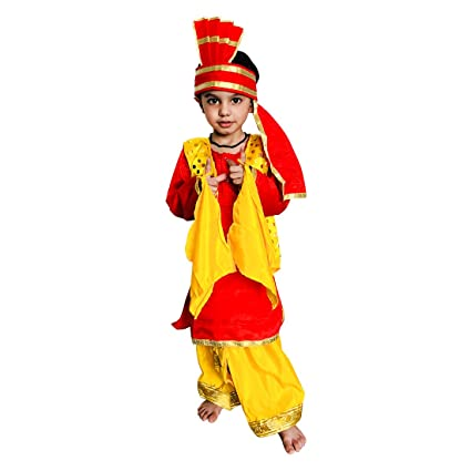 e61abdc4e Buy Karton10 Yellow Punjabi Traditional Fancy Dress Costume for boy, Kids,  for Any Party or Cos Play (2-8 Years) (5-6) Online at Low Prices in India  ...