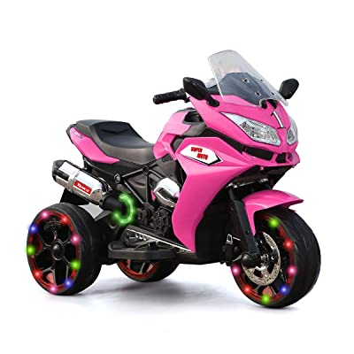 Alison Children Battery Motor Bikes Rechargeable 3 Wheels Ride on Kids Electric Motorcycle with Light Wheels: Toys & Games