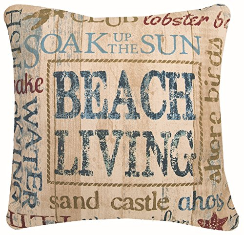 "Heritage Lace Beach Living Pillow, 18""x18"" - Measures 18""x18"" Perfect nautical charm Great accent piece to any furniture - living-room-soft-furnishings, living-room, decorative-pillows - 61lNaJJ0kXL -"