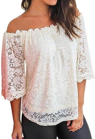 Yesmile Camiseta de Mujer Tops Suelto Blusa Causal Camisetas Ocasionales Tops de Las Mujeres Blusa del Hombro Bamiseta de Manga Corta con Cuello Barco (Blanco, XL): Amazon.es: Hogar