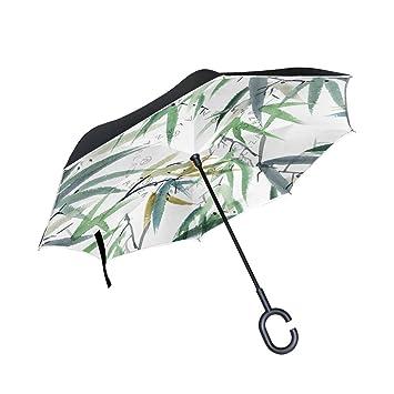 jstel doble capa diseño de hojas de bambú paraguas coches Reverse resistente al viento lluvia paraguas
