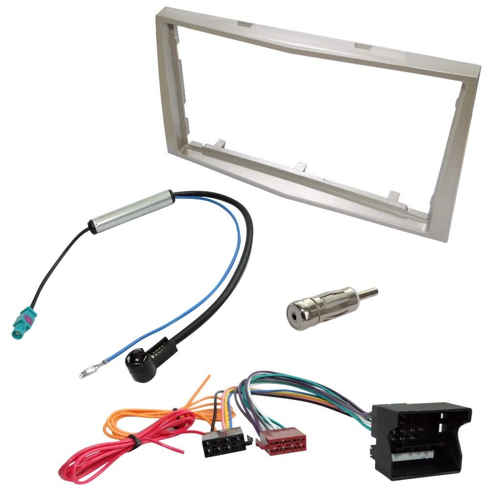 Kit Adaptateur Autoradio Cadre Beige 2 DIN C/âble Faisceaux C1440C4635C16462C11158 AERZETIX