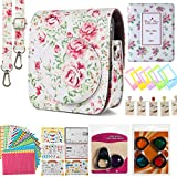 Flylther Mini 90 Instant Flim Camera Accessories 8 in 1 Bundles Set for Fujifilm Instax Mini 90 Camera (Case/ Albums/ Frames/ Film Stickers/ Filters ) - White Flower
