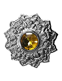 "AAR Men's Scottish Kilt Fly plaid Brooch 4"" Thistle Design Yellow Stone Chrome Finish"