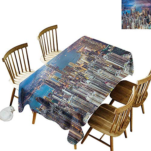 (Tablecloth China Hong Kong City Skyscrapers Party Decorations Table Cover Cloth 60