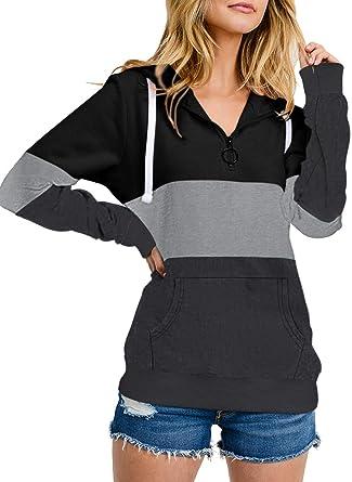 JooMeryer Women's Color Block Hoodie 14 Zip Long Sleeve Hooded Sweatshirts
