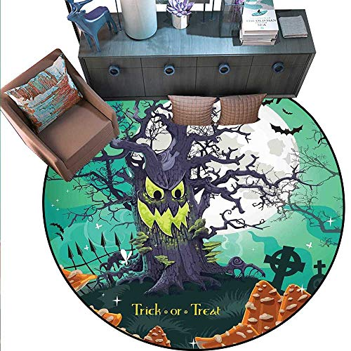 Halloween Round Rug Kid Carpet Trick or Treat Dead Forest with Spooky Tree Graves Big Kids Cartoon Art Print Circle Rugs for Living Room (6' Diameter) Multicolor ()