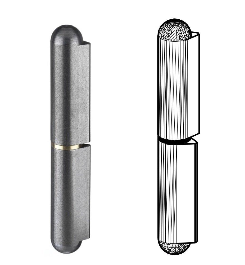 Gedotec Anschweiß scharnier Stahl Anschweiß bä nder fü r Metall-Tü ren | Anschweissband Hö he: 60 mm | MADE IN GERMANY | Tragkraft 80 kg | 2 Stü ck