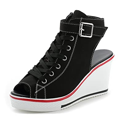ACE SHOCK Women Wedge Sneakers Wide Width Fashion High Heeled Platform Canvas Shoes | Shoes