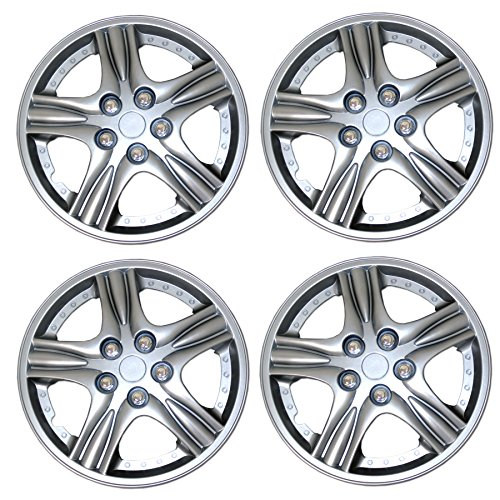 (TuningPros WSC3-510S15 4pcs Set Snap-On Type (Pop-On) 15-Inches Metallic Silver Hubcaps Wheel Cover)