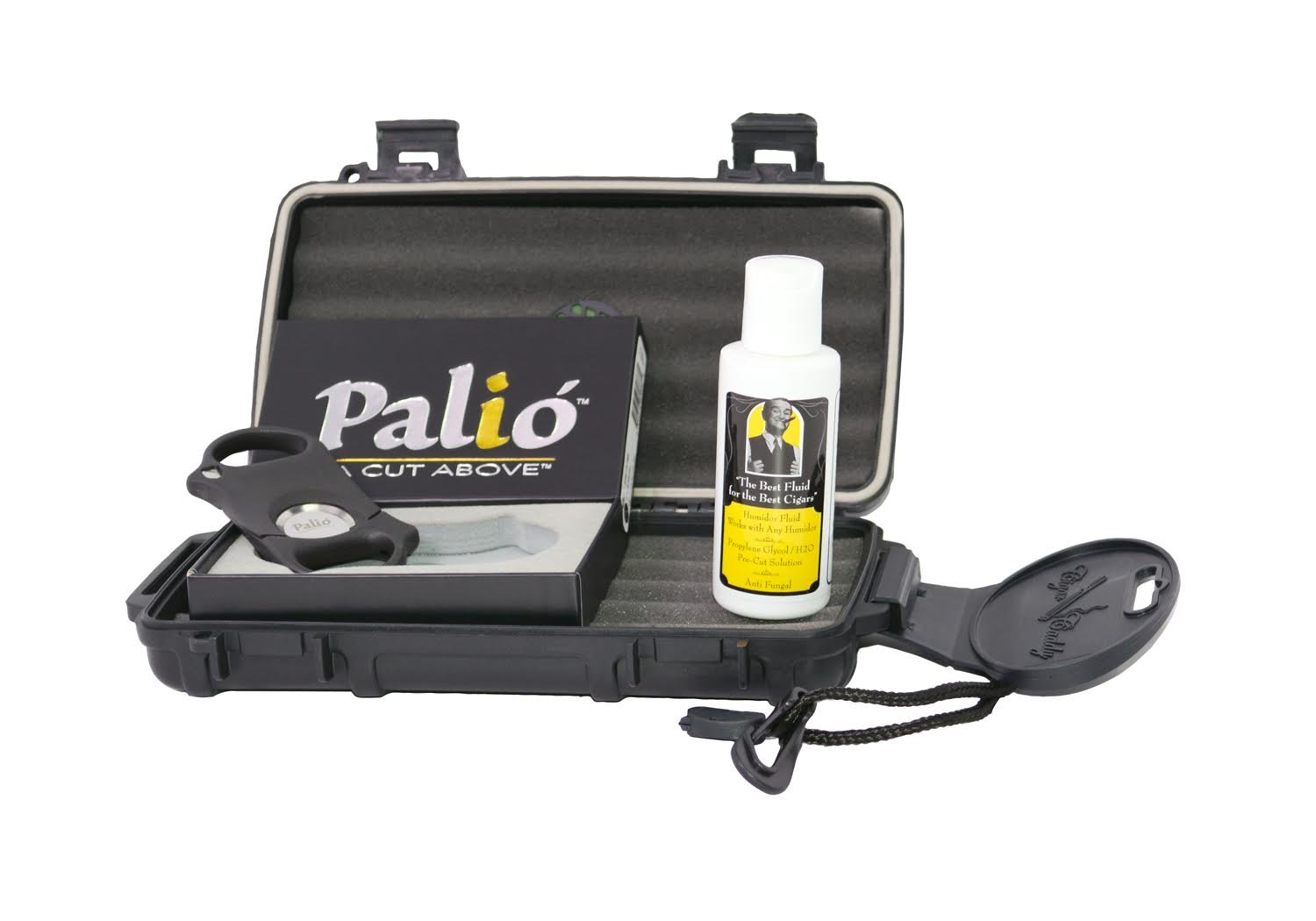 Cigar Caddy 5 Cigar Waterproof Travel Humidor with Palio Cigar Cutter & Humidifier Solution (Caddy, Cutter & Solution)