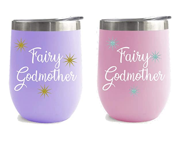 da6924a8696 Image Unavailable. Image not available for. Color: Personalized Fairy  Godmother Stemless Wine Glasses ...
