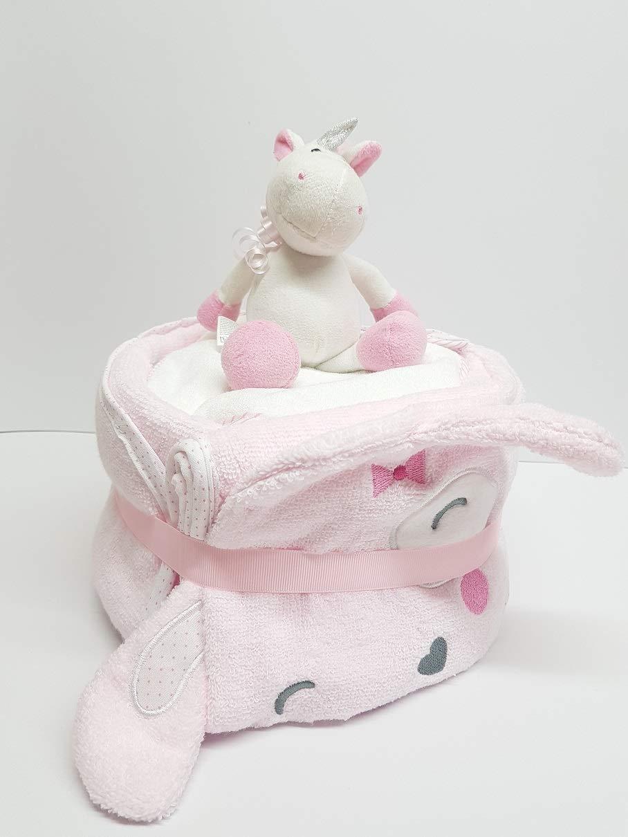 Windeltorte Deluxe Einhorn Rosa und Badetuch mit Kaputze Geschenk zur Geburt oder Taufe Babyshower