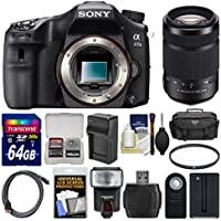 Sony Alpha A77 II Wi-Fi Digital SLR Camera Body with 55-300mm Lens + 64GB Card + Case + Flash + Battery & Charger + Kit
